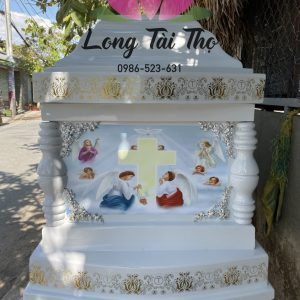 Hòm Đài Loan Công giáo màu trắng lớn